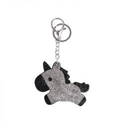1 Porte clef pendentif licorne à strass miniature Waldhausen Argent/Noir - Le Paturon