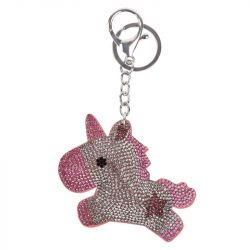 1 Porte clef pendentif licorne à strass miniature Waldhausen Gris granit/Rose - Le Paturon