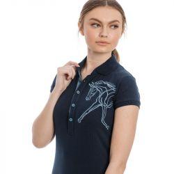 1 Polo femme coton Flamboro Pique Horseware Marine - Le Paturon