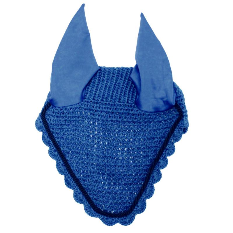Bonnet anti-mouche cheval Loveson crochet et cordelette bleu marine - Le Paturon