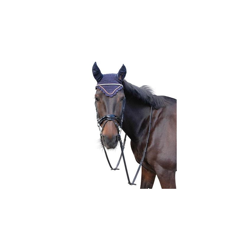 Bonnet anti-mouche cheval Covalliero Excelsior marine blackberry - Le Paturon