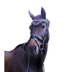 Bonnet anti-mouche cheval Covalliero Excelsior chocolat azur - Le Paturon