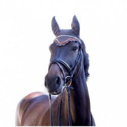 Bonnet anti-mouche cheval Covalliero Excelsior marron orange - Le Paturon