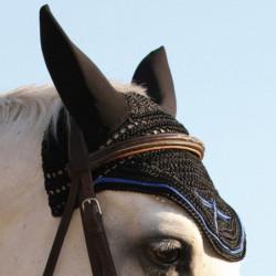 Bonnet anti-mouche cheval Freejump crochet bleu - Le Paturon