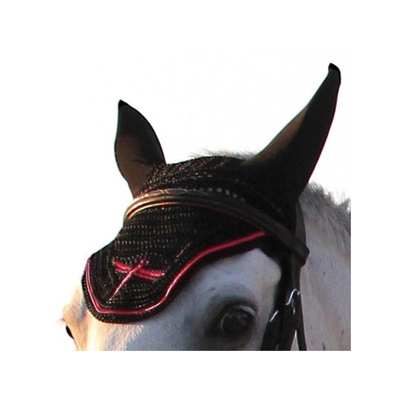 Bonnet anti-mouche cheval Freejump crochet rouge - Le Paturon