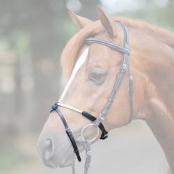 Muserolle combinée cheval Kavalkade corde noir - Le Paturon
