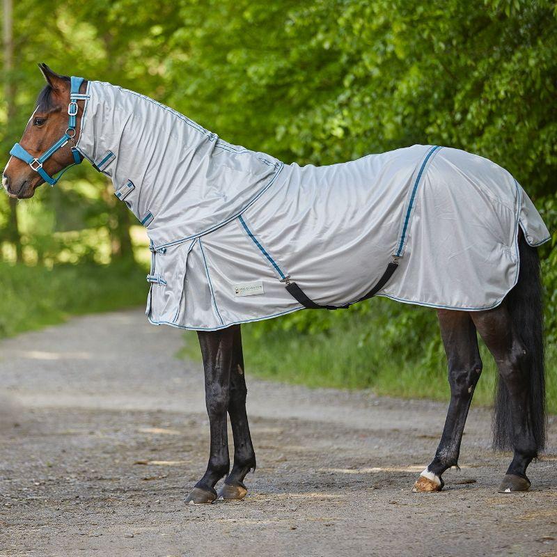 Couverture anti-mouche cheval camail amovible Waldhausen gris argent - Le Paturon