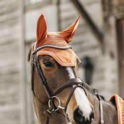 Bonnet anti-mouche cheval Wellington Velvet Kentucky orange - Le Paturon