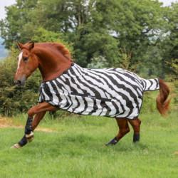 Couverture anti-mouche cheval Bucas Buzz Off Zebra couvre-cou amovible - Le Paturon
