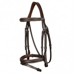 Bridon cheval muserolle combinée classique Working By Dy'on noisette - Le Paturon
