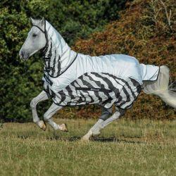 Couverture anti-mouches cheval imperméable Buzz-off Zebra Rain Bucas - Le Paturon