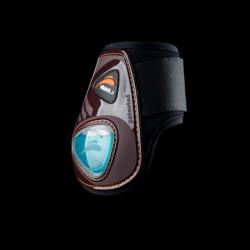 Protège-boulets cheval eQuick eShock eFluidGel ouverts avec velcro marron - Le Paturon