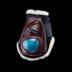 Protège-boulets eQuick cheval eShock eFluidGel mouton avec velcro marron - Le Paturon