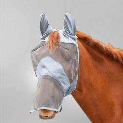 Masque intégral anti mouche cheval anti uv avec oreilles Premium Waldhausen gris argent - Le Paturon