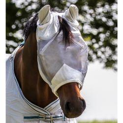 Masque anti mouche cheval anti uv avec oreilles Premium Waldhausen gris argent - Le Paturon