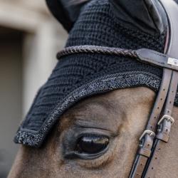 Bonnet anti-mouche Wellington Glitter Stone Kentucky cheval Soundless noir - Le Paturon