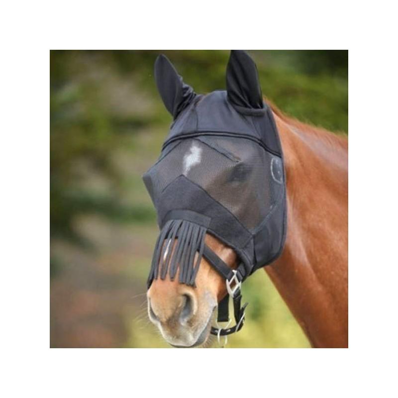 Masque anti mouche cheval anti-uv franges Premium Waldhausen noir - Le Paturon