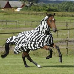 2 Couvertures anti-insectes cheval : Couverture anti-mouche cheval avec camail buzz-off Zebra, Bucas