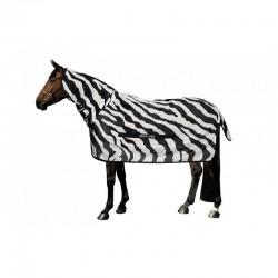 3 Couvertures anti-insectes cheval : Couverture anti-mouche cheval avec camail buzz-off Zebra, Bucas