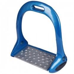 1 Étriers aluminium, étriers couleur, Bleu, Plancher large - StirrFeet - Le Paturon
