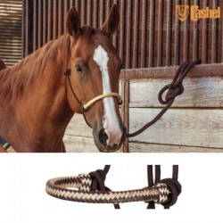 1 Licol éthologique corde tressé Noir Muserolle Noir Blanc,Cashel,Licol cheval