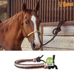 1 Licol éthologique corde tressé Noir Muserolle Noir Cuivre,Cashel,Licol cheval