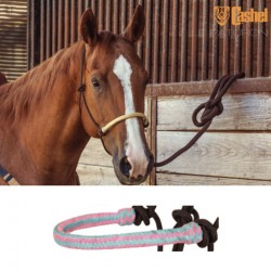 1 Licol éthologique corde tressé Noir Muserolle Rose Turquoise,Cashel,Licol cheval