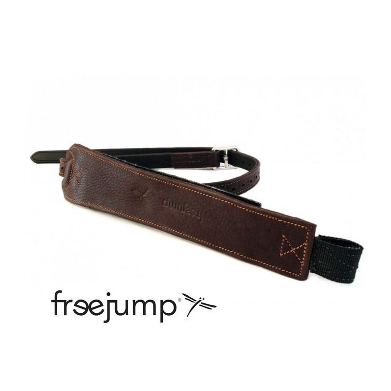 1 Étrivières Freejump Pro Grip monobrin cuir marron,Freejump,Étriers