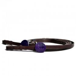 1 Paire de rênes en caoutchouc avec arrêtoirs colorés Adjust Color : IHWT - Le Paturon