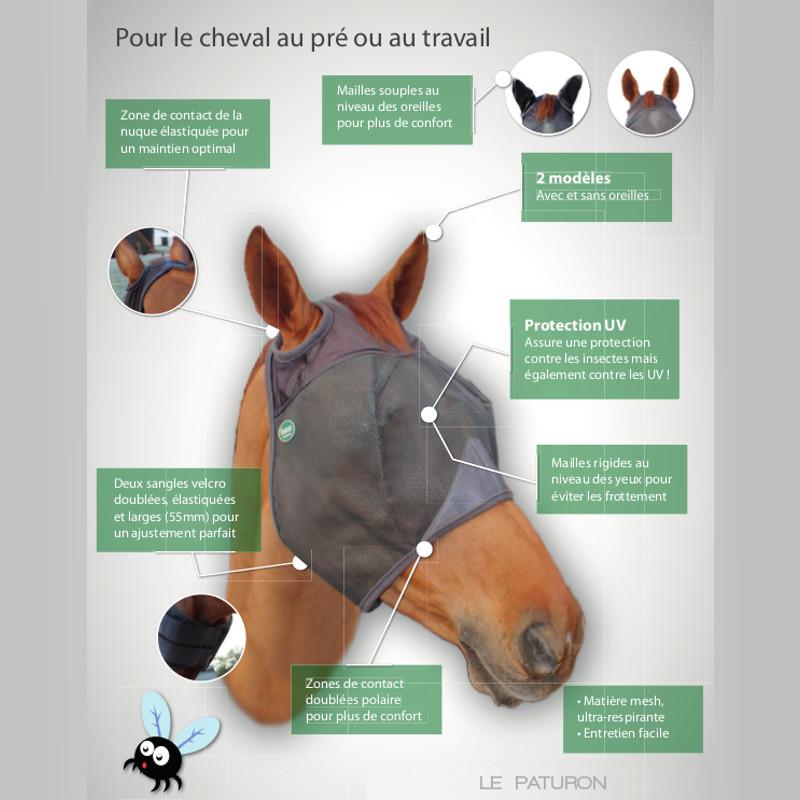 Masque Emouchine Cheval Ravene Sans Oreilles