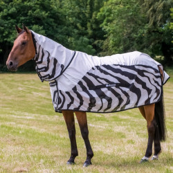Couverture anti-mouches cheval imperméable Buzz-off Zebra Rain Bucas