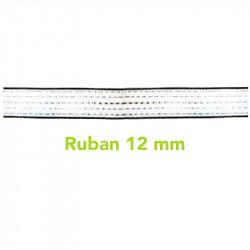 Ruban blanc clôture électrique chevaux  12 mm  200 m Inox  Cuivre