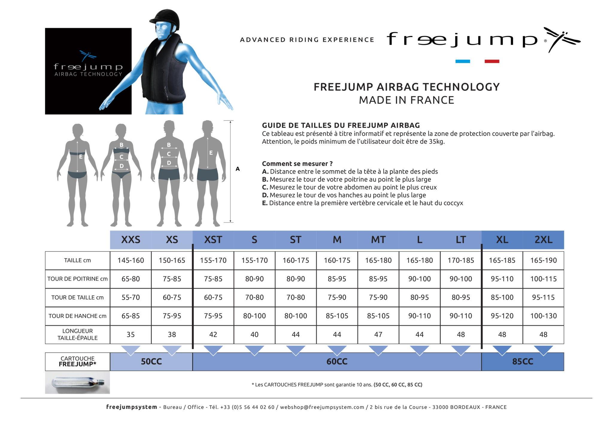 Guide des tailles gilet airbag freejump - Le Paturon