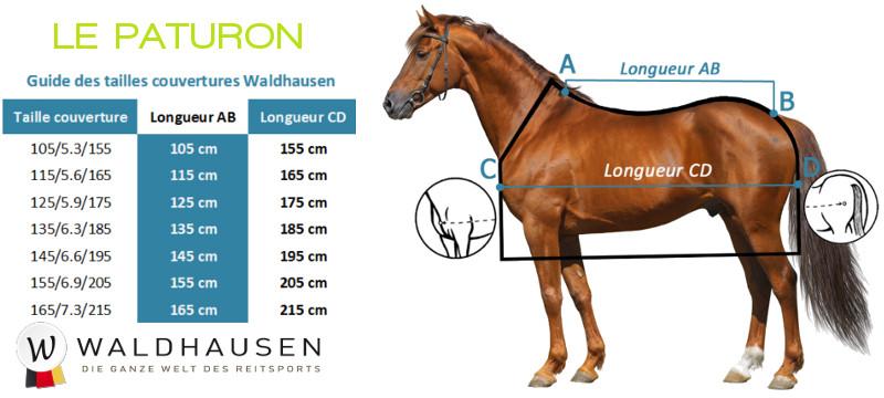 Comment choisir la taille de couverture cheval Waldhausen? - Le Paturon