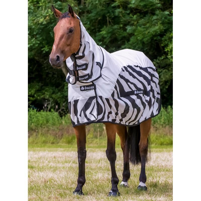 couverture anti mouche cheval imperméable Bucas Buzz off Zebra Rain