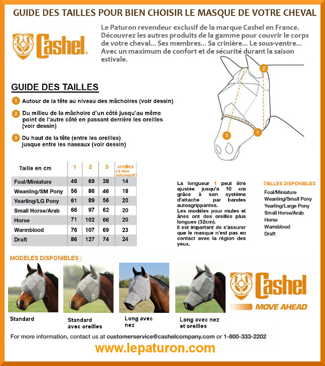 Choisir taille masque cheval guide